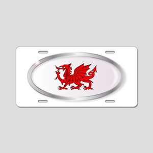 Welsh Dragon Oval Button Aluminum License Plate